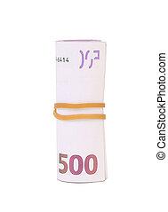rolado, cima., cem, cinco euro