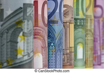 rolado cima, euro, contas, branco, fundo