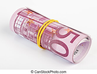 rolado cima, fundo, euro, mil, 5, branca