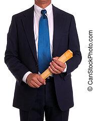 rolado, homem negócios, documento, paleto