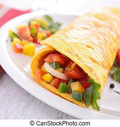 rolado, omelette, legumes