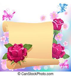 rolado, rosas, pergaminho