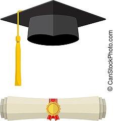 rolado, scroll., boné, diploma, graduação
