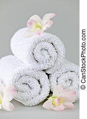 rolado, spa, branca, cima, toalhas