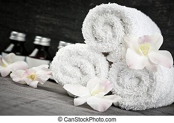 rolado, spa, produtos, cima, toalhas