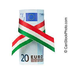 rolado, vinte, tricolor, fita, euro