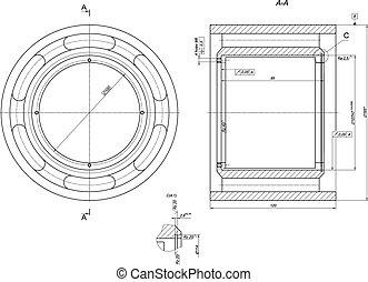 rolamento, engenharia, sketch., desenho