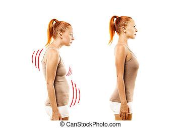 rolamento, mulher, jovem, defeito, ideal, posição