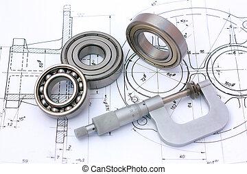 rolamentos esferas, com, micrômetro, ligado, desenho técnico