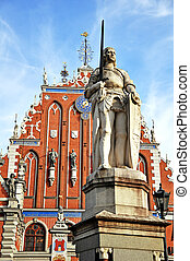 Roland statue on the town hall square in Riga