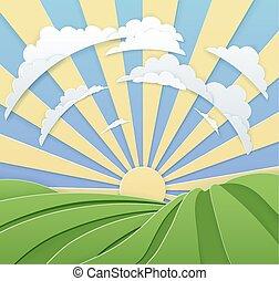 rolando, céu, colinas, estilo, arte, papel, amanhecer, campo