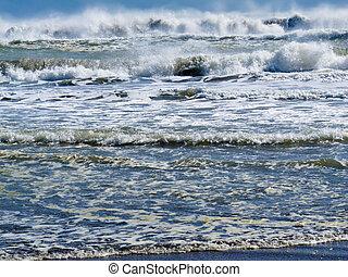 rolando, quebrar, praia, fundo, ondas
