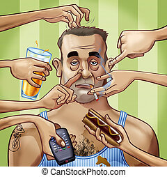 Role model - Cartoon-style illustration. A scruffy fat...
