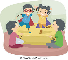 Role Play - Illustration of Kids Doing a Role Play in Front...