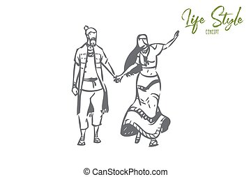 Roleplay concept sketch. Free mentally and physically. One with nature, hippy, rasta movement. Simple, natural living. Good, romantic relationship. Common interests. Isolated vector illustration