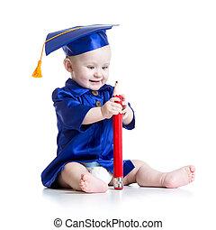 rolig, baby, in, academician, kläder