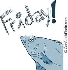 rolig, fish, fredag, meddelande