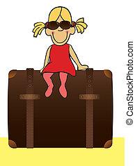 rolig, flicka, resväska, sittande