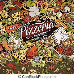 rolig, frame., blanka färger, vektor, doodles, pizzeria, gräns, tecknad film, pizza