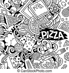 rolig, frame., teckning, kontur, vektor, doodles, pizzeria, gräns, tecknad film, pizza