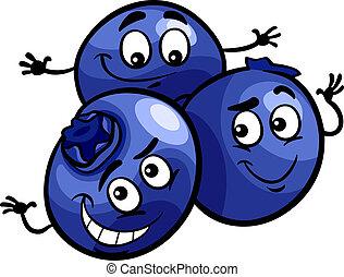 rolig, frukter, tecknad film, illustration, blåbär