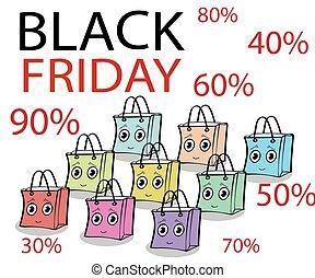 rolig, gåva, fredag, försäljning, svart, sjal, packe