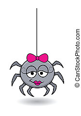 rolig, halloween, spindel, kvinnlig