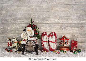 rolig, jul, hälsningskort, med, jultomten, och, gammal, barn, toys, nolla