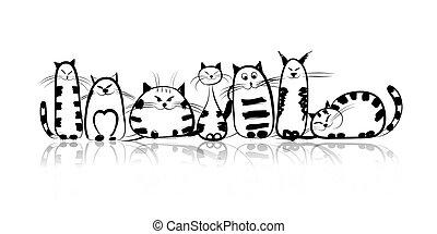 rolig, katter, design, din, familj