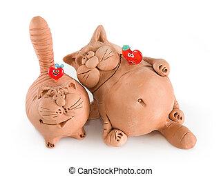 rolig, katter, två, lera