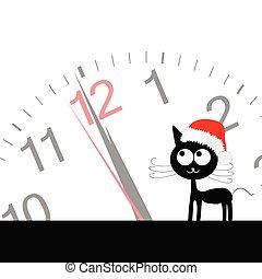 rolig, klocka, söt, illustration, katt, vektor