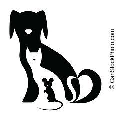 rolig, komposition, mus, hund, katt