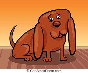 rolig, litet, hund, illustration, tecknad film