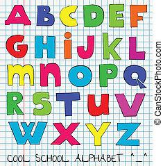 rolig, lurar, färgrik, alfabet