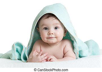 rolig, lycklig, baby pojke, in, handduk