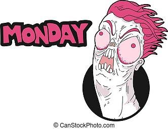 rolig, måndag, meddelande