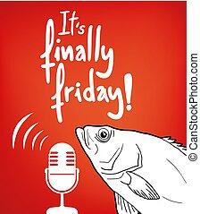 rolig, meddelande, fredag, fish