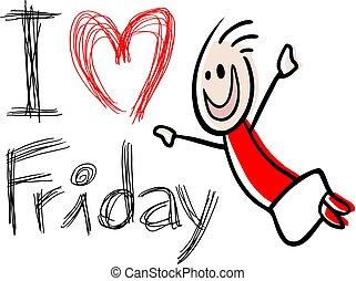 rolig, meddelande, fredag, kärlek