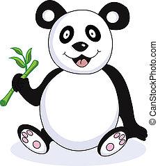 rolig, panda, tecknad film
