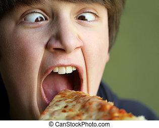 rolig, pojke, äta pizza