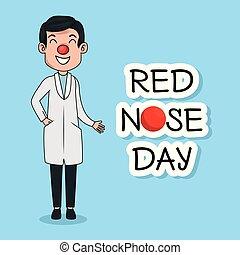 rolig, röd nos, dag, läkare