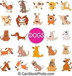 rolig, sätta, hund, stort, tecken, tecknad film