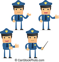 rolig, sätta, tecknad film, polisman