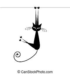 rolig, silhuett, katt, svart, design, din