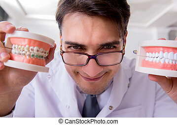 rolig, sjukhus, modell, tandläkare, tänder