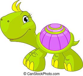 rolig, sköldpadda, söt