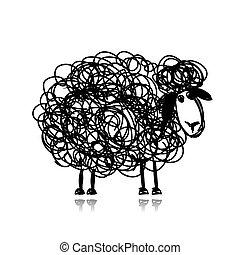 rolig, skiss, sheep, svart, design, din