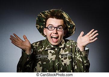 rolig, soldat, in, militär, begrepp
