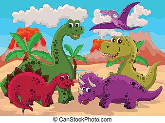 rolig, tecknad film, dinosaurie