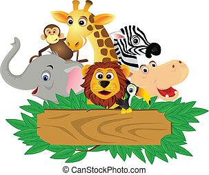 rolig, tecknad film, djur